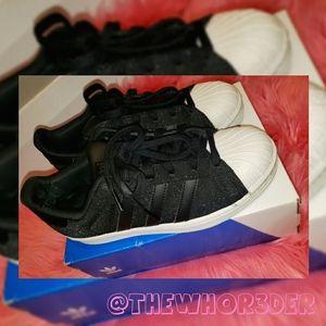Adidas Superstars Black Glitter🖤